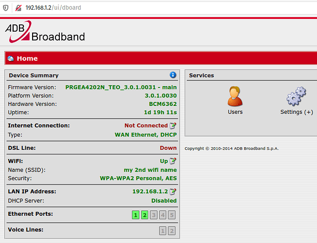 ADB P.RG EA4201N-G web UI