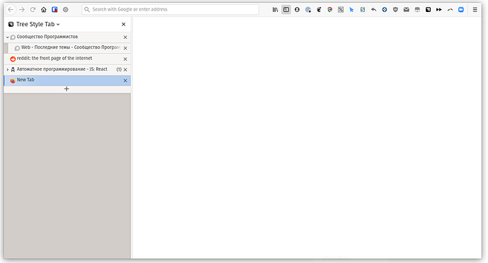 PopOs 20.04 Firefox TreeStyleTab + no title bar and default tabs