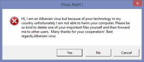 албанский вирус messagebox