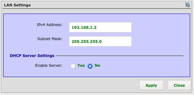 IP 192.168.1.2, subnet mask 255.255.255.0, DHCP disabled